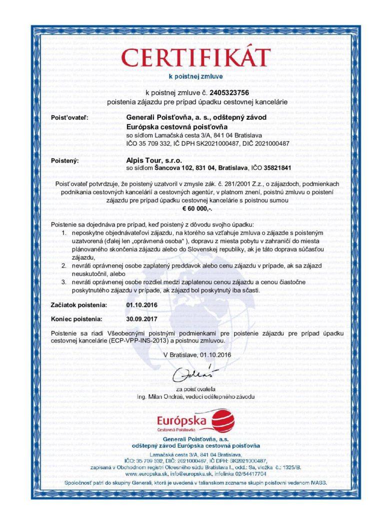 Certifikat insolventnosti 2016 Alpis Tour